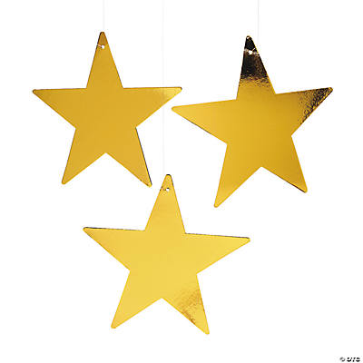 Large Metallic Gold Stars - 12""