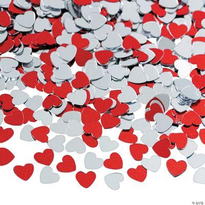 Red & Silver Heart Confetti