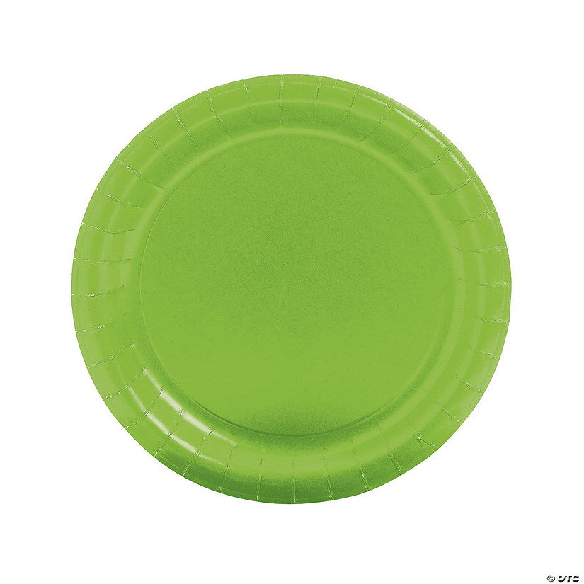 lime green round paper dinner plates