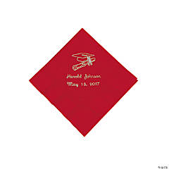 Red Personalized Graduation Beverage Napkins - Silver Print