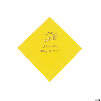 Yellow Personalized Grad Beverage Napkins
