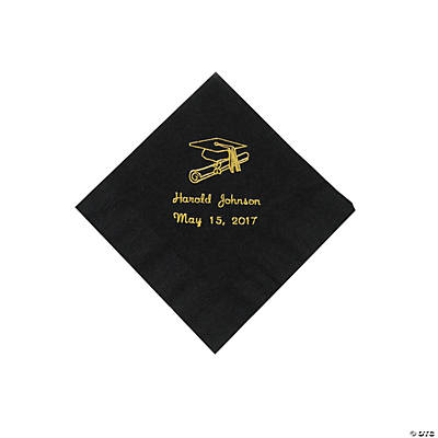 Black Personalized Grad Beverage Napkins