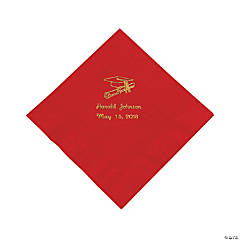 Red Personalized Graduation Luncheon Napkins - Gold Print