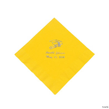 Yellow Personalized Graduation Lunch Napkins