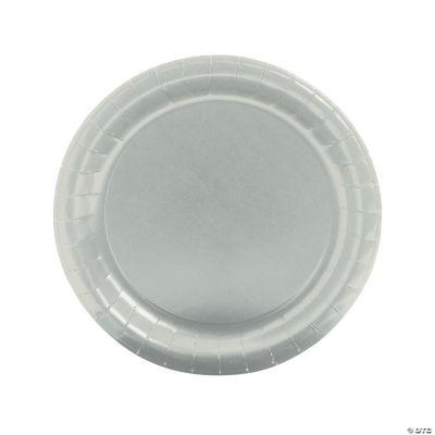 Round Metallic Silver Dinner Plates