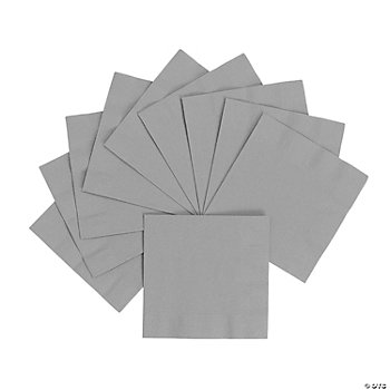 Metallic Silver Beverage Napkins