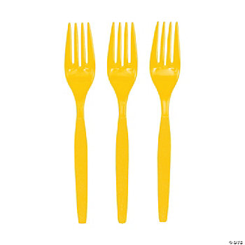 Plastic Lemon Yellow Forks