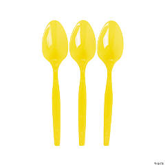 Plastic Lemon Yellow Spoons