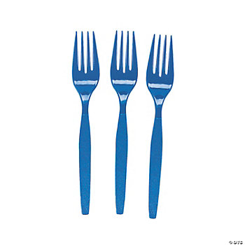 Plastic Royal Blue Forks