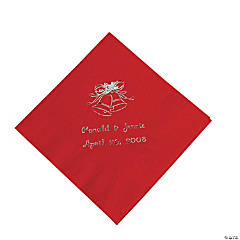 Red Wedding Personalized Beverage Napkins with Silver Print