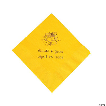 Gold Yellow Wedding Beverage Napkins (P)