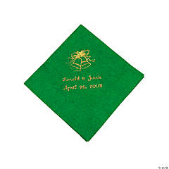 Gold Green Wedding Beverage Napkins (P)