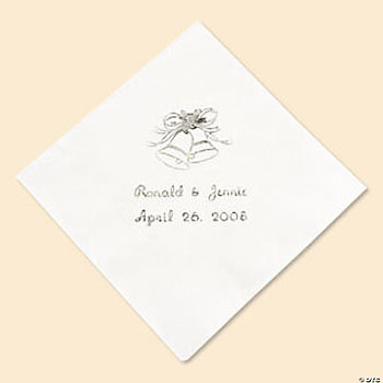 White Personalized Wedding Beverage Napkins