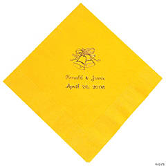 Personalized Gold Yellow Wedding Luncheon Napkin