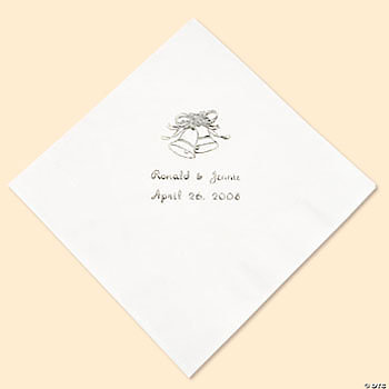 Silver White Wed Lunch Napkins (P)
