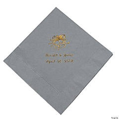 Personalized Silver Wedding Luncheon Napkins