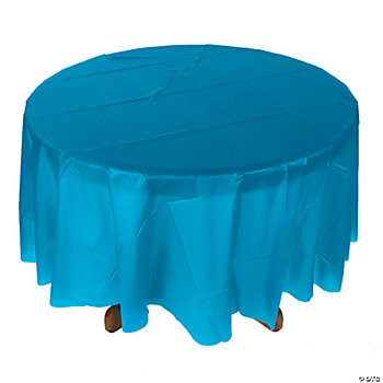 Plastic turquoise round tablecloth