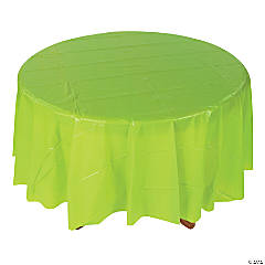 Fresh Lime-Colored Round Tablecloth