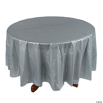 Metallic Silver Round Table Cover