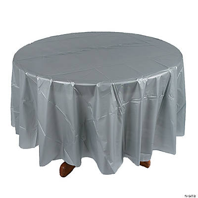 Metallic Silver Round Tablecloth