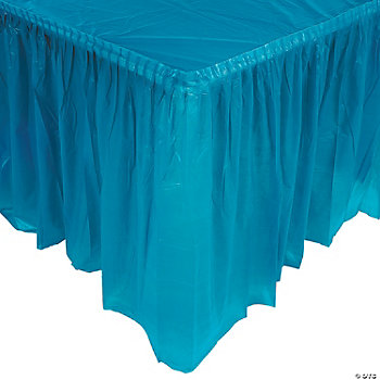 Plastic Turquoise Pleated Table Skirt