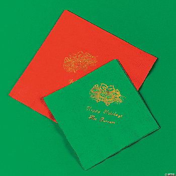 Holiday Printed Green Beverage Napkins