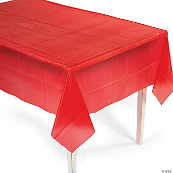 "Red Plastic Tablecover (54"" x 108"")"