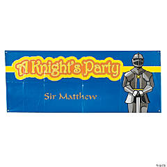 "Personalized ""A Knight's Party"" Banner - Small"