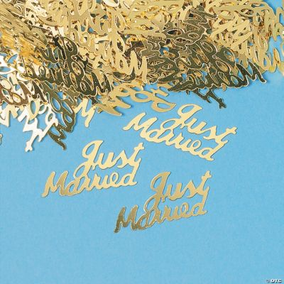 """Gold """"Just Married"""" Confetti"""
