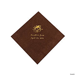 Personalized Chocolate Brown & Gold Wedding Luncheon Napkins