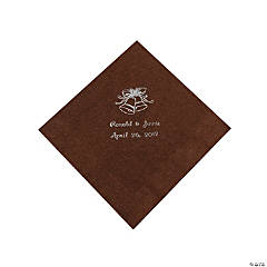 Personalized Chocolate Brown & Silver Wedding Luncheon Napkins