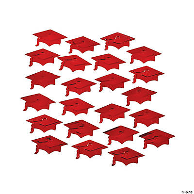 Red Graduation Hat Confetti