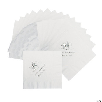 50 Personalized Champagne White Luncheon Napkins