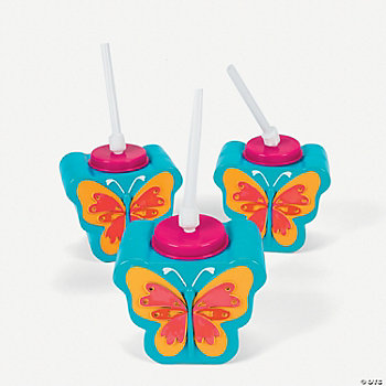 Butterfly-Shaped Cups With Straws