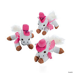 Plush White & Pink Cowgirl Horses