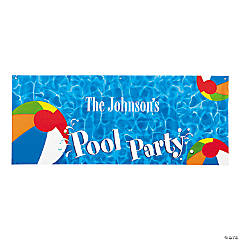"Personalized Swimming ""Pool Party"" Banner - Small"
