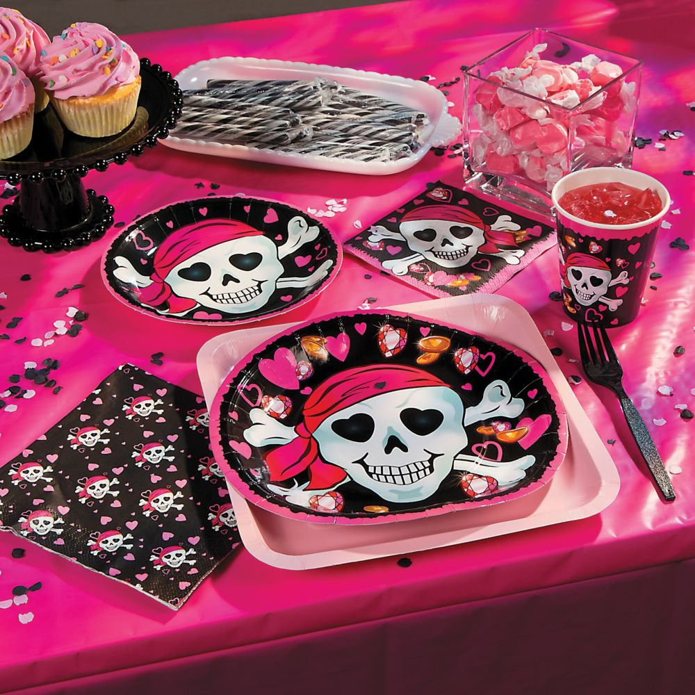 pink pirate tableware