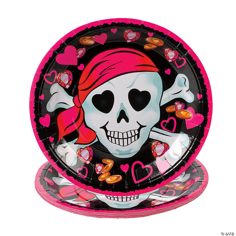 sc 1 st  Oriental Trading & Pink Pirate Girl Paper Dinner Plates