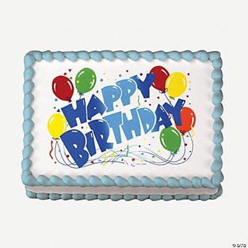 Happy birthday balloons edible image cake decoration for Balloon cake decoration