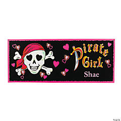 "Personalized ""Pink Pirate"" Girl Banner - Small"