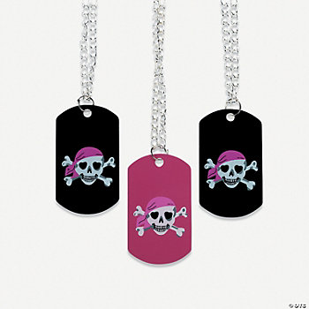 Pink Pirate Girl Dog Tag Necklaces