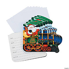 Holiday Train Shaped Invitations