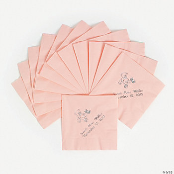 Personalized Pink Baby Beverage Napkins With Silver Lettering