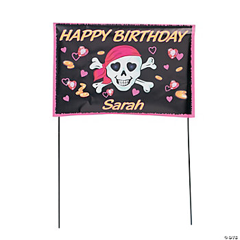 Personalized Pink Pirate Girl Yard Sign