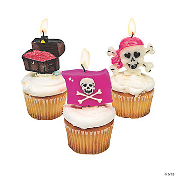 12 Pink Pirate Girl Cake Topper Candles
