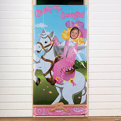 Pink Cowgirl Photo Door Banner