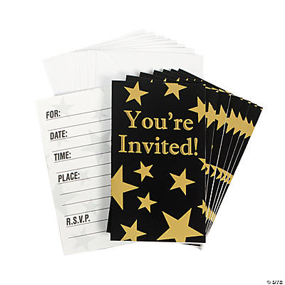 Gold Foil Star Invitations