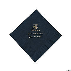 Personalized Gold And Black 50th Anniversary Luncheon Napkins