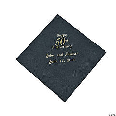 Personalized Gold And Black 50th Anniversary Beverage Napkins