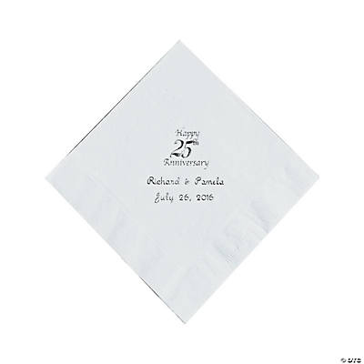 Personalized Silver And White 25th Anniversary Luncheon Napkins